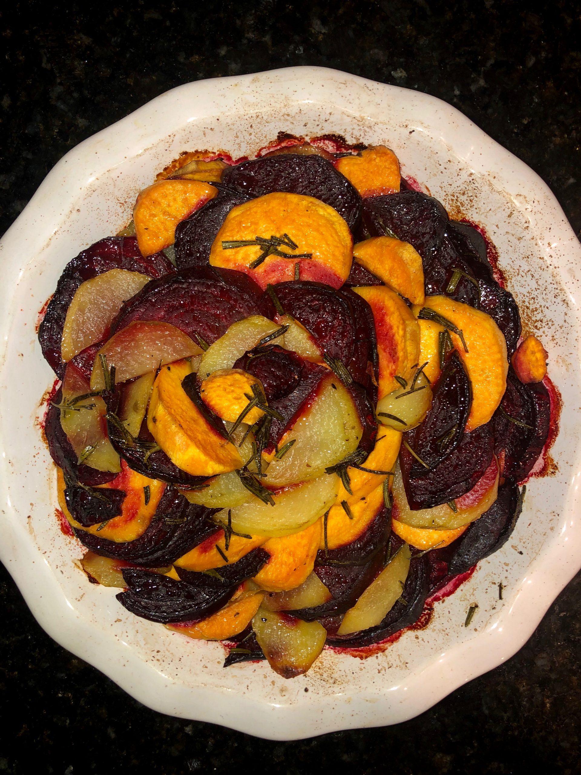 rosemary beet and potato bake
