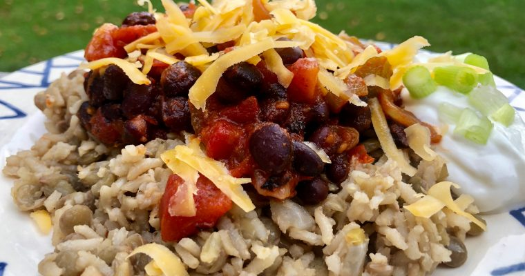 Spicy Black Bean Chili with Lentil Rice