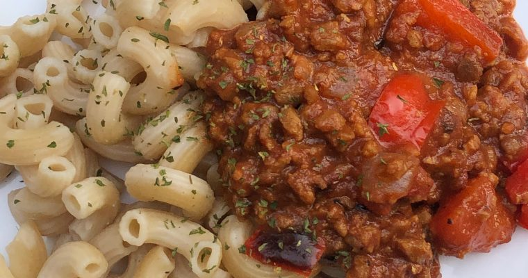 Pasta with Vegetarian Meat Sauce
