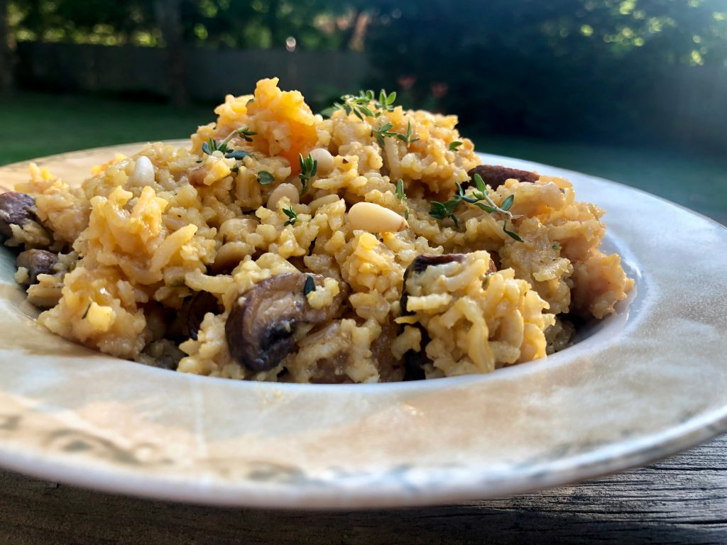 brown rice with apricots and mushrooms