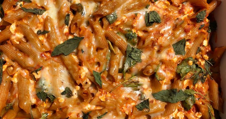 Baked Ziti with Spinach and Basil