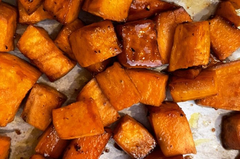 Balsamic and Maple Glazed Sweet Potatoes
