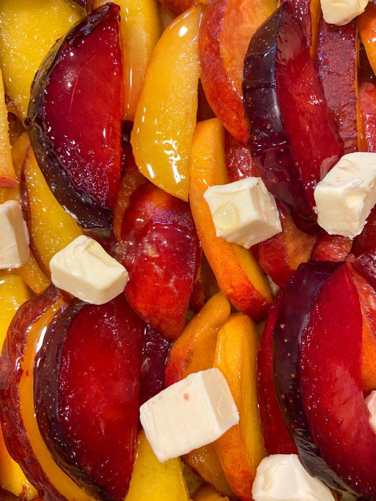 unbaked stone fruit galette