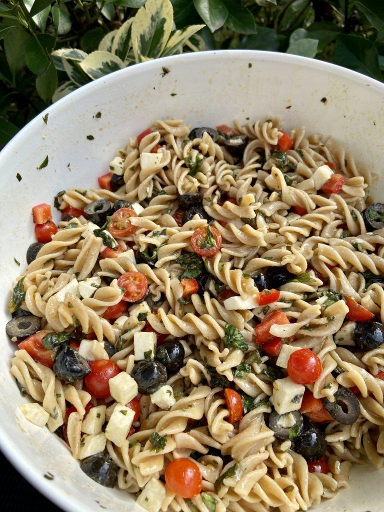 summer pasta salad in a bowl